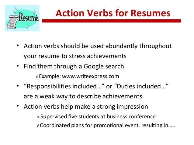 verbs for a resumes radiotodorock.tk