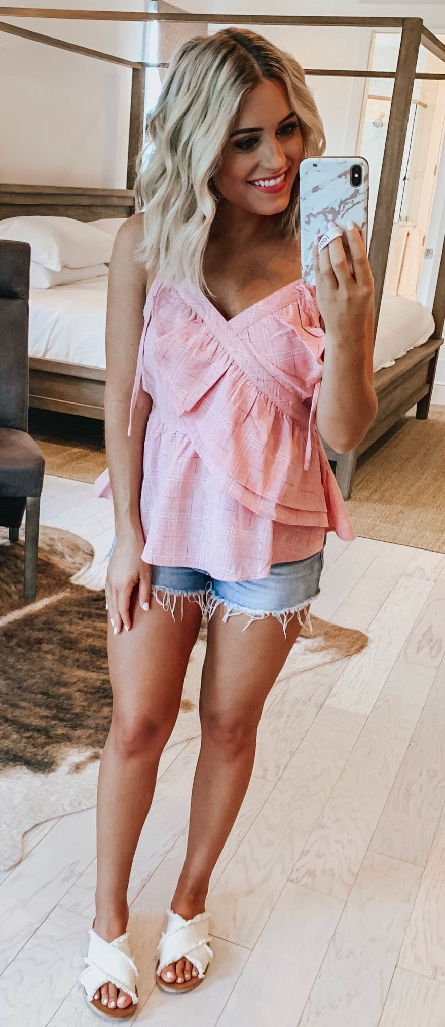 pink sleeveless top #summer #outfits
