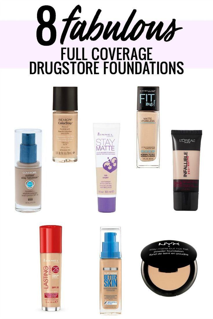 8 fabulous full coverage drugstore foundations, the best drugstore foundation!! #beautyblogger #drugstoremakeup #drugstorefoundation