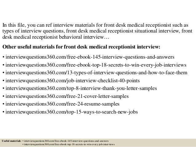Medical Receptionist Interview Questions Top 10 Front Desk - medical secretary job description