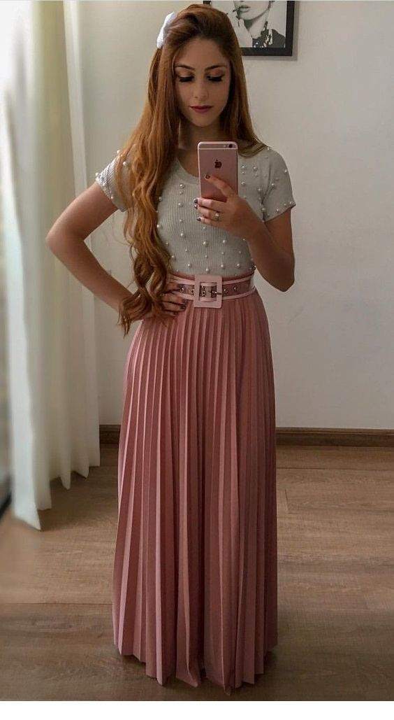 Pearl top and long skirt
