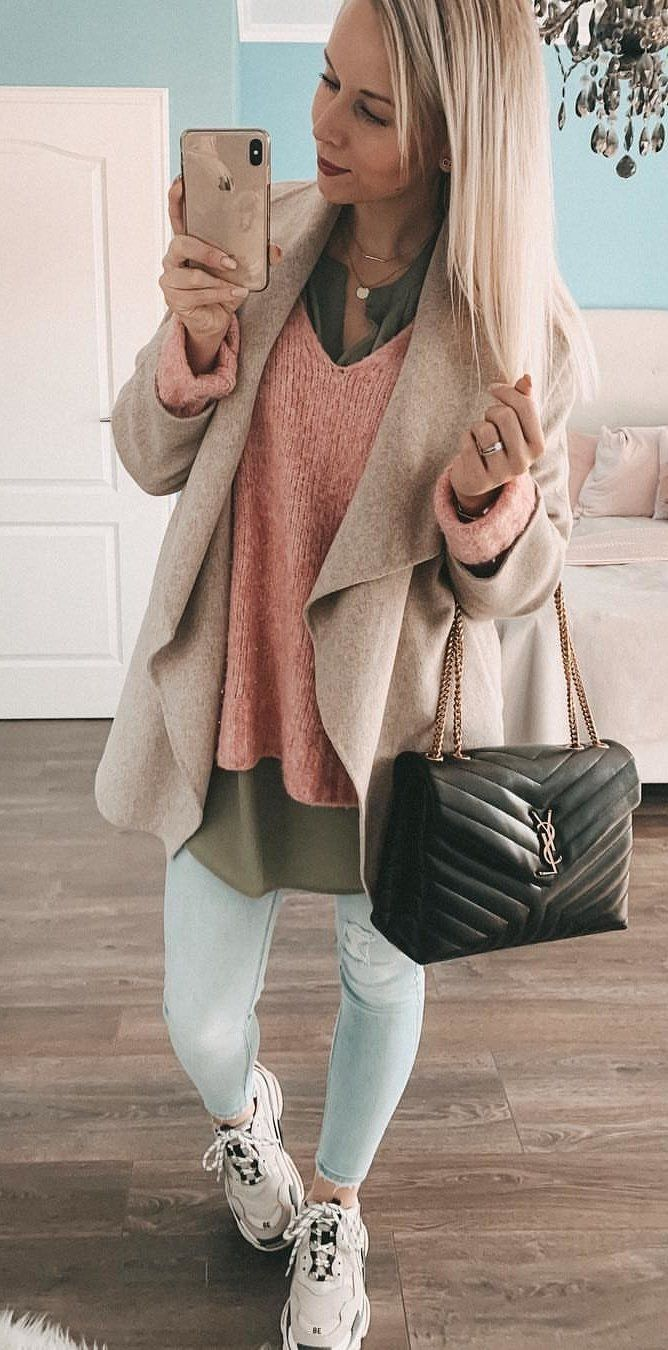 brown cardigan and gray pants #spring #outfits