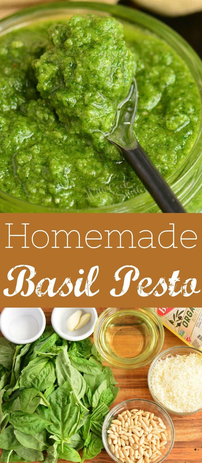 Pesto is so easy and packed with simple but beautiful flavors of fresh basil, pine nuts, garlic, olive oil, and dry aged cheese like Parmigiano-Reggiano. It's easy to make in 5 minutes and freeze extra for later. #pesto #sauce #nocook #italian #basil #pasta #easydinner