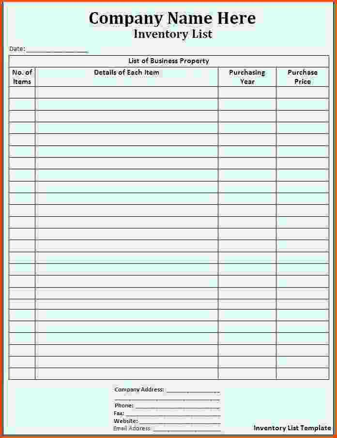 Supply Inventory Template Supply Inventory Template 5 Free Word - inventory list template