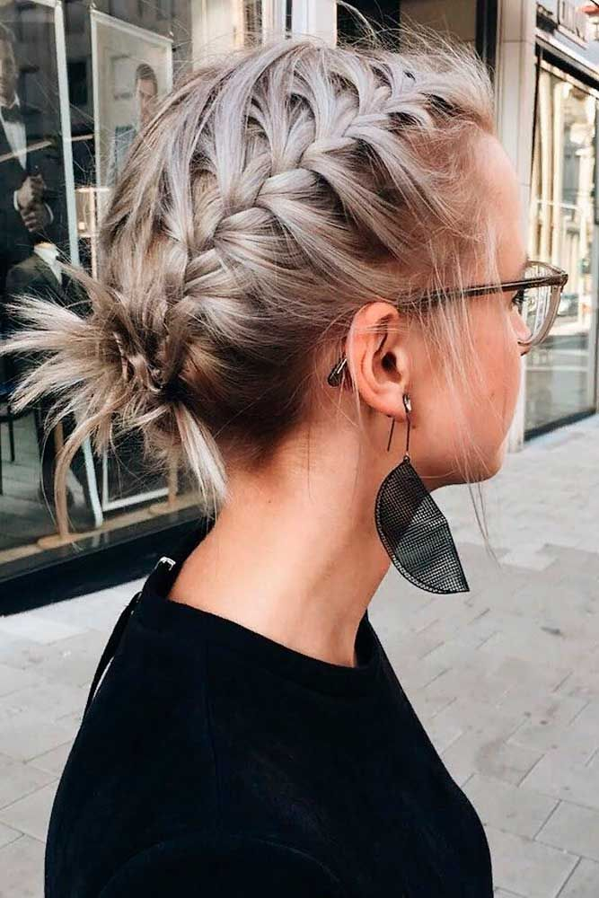 Braided Messy Updo #ashhair #braidedhairstyles ★ Cute and easy shoulder length hairstyles for thin and for thick hair can be found here. These styles can work for adult women and for teens. #glaminati #lifestyle #shoulderlengthhairstyles