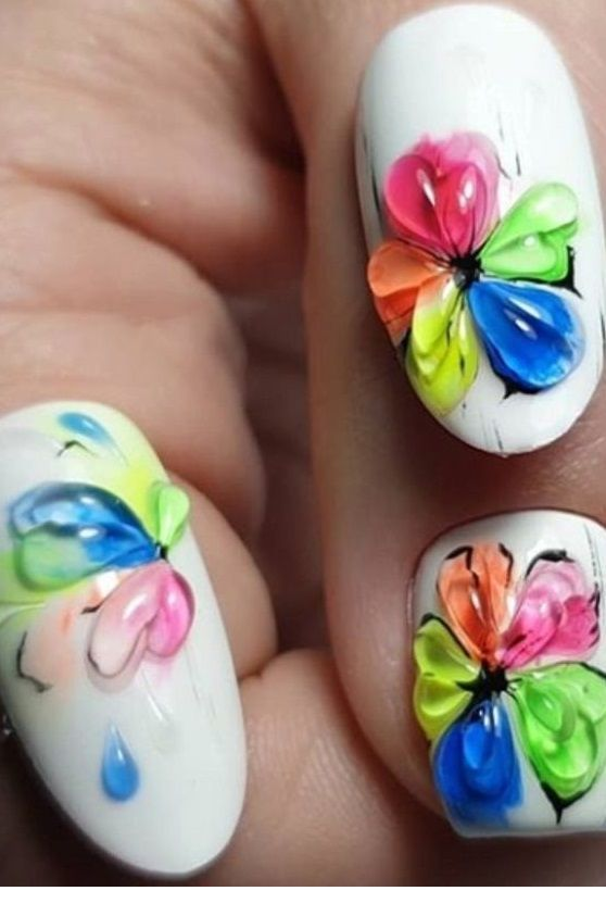 Colorful flowers summer nails