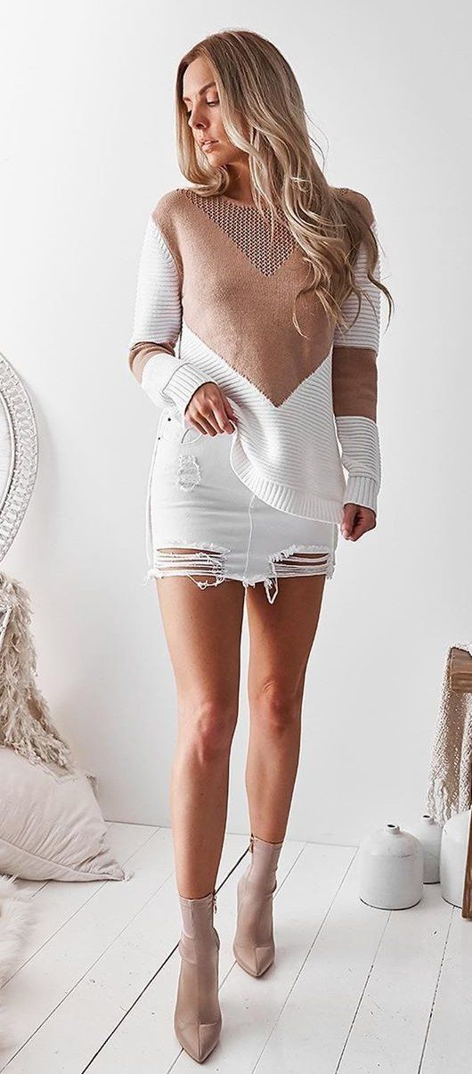 brown and white crew-neck long-sleeved mini dress #summer #outfits