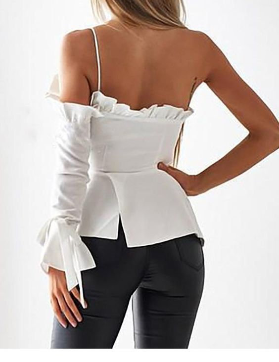 Chic white top back and black pants