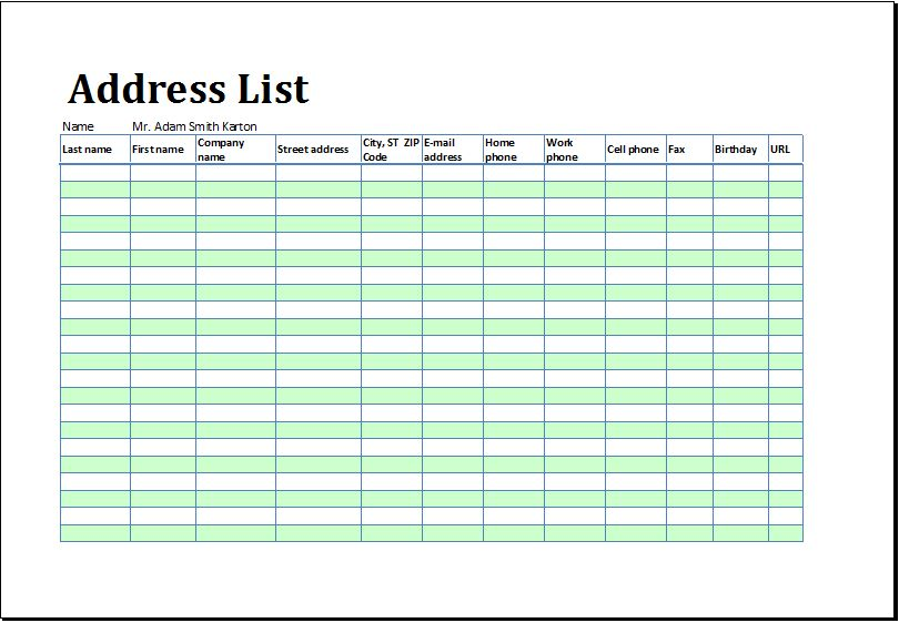 Excel Phone List Template Address And Phone List Office Templates - phone list templates