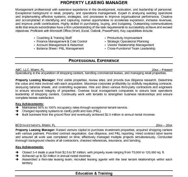 sample leasing agent resume node5312 cvresumehigh speedcloud - Leasing Manager Resume