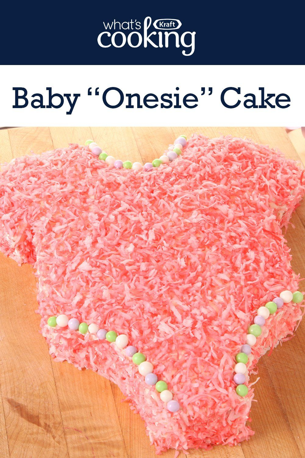 "If you're planning a baby shower, add this adorable dessert to your menu. This cute Baby ""Onesie"" Cake is sure to steal the show and it serves 18 guests. Click or tap photo for this easy #recipe."