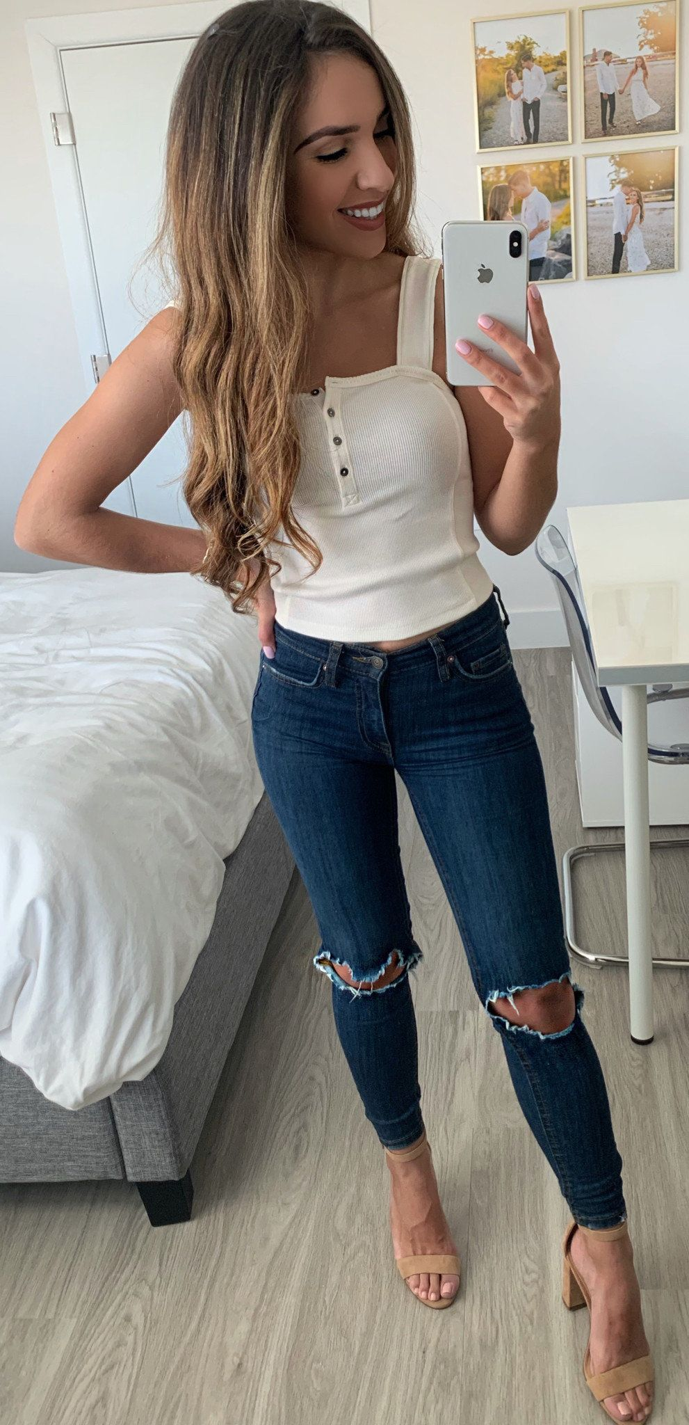 white tank top and distressed blue denim jeans #spring #outfits