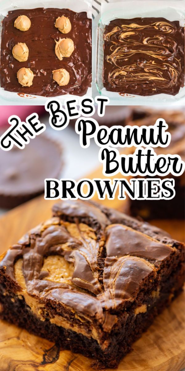 Peanut Butter Brownies (Super Fudgy & Chewy!)