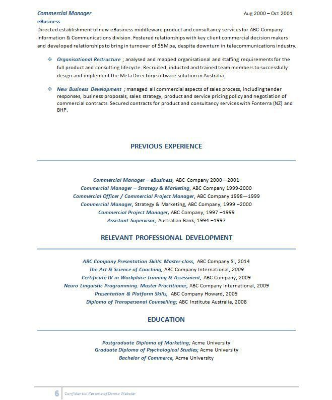 commercial project manager sample resume