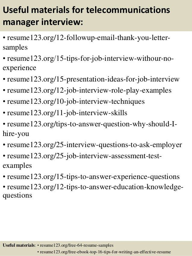 Telecom Resume Samples Manager Telecommunications Resume Manager
