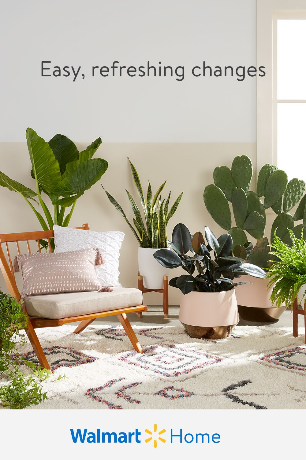 Rejuvenate every room in your home for the new year.  At Walmart, find easy, affordable ways to update your home with greenery, nature-inspired decor, & more.  Tip: Add plants for thriving color & texture, plus they can help purify the air.