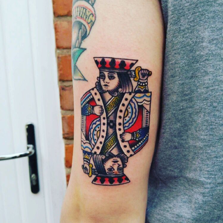 Neo traditional king playing card traditional tattoo