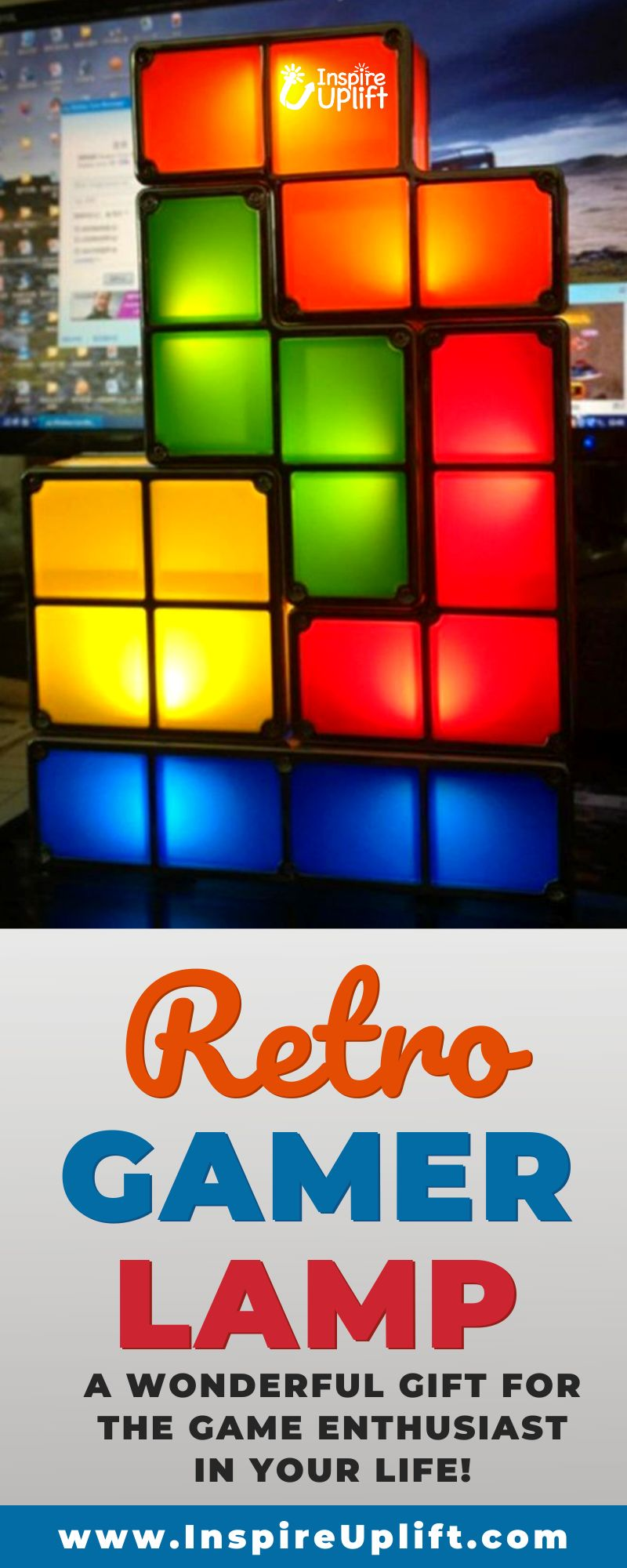 The Retro Gamer Lamp pays tribute to the iconic arcade game. This retro-inspired, home decor accessory is perfect for individuals of all ages, thanks to its geometric and color-infused design.