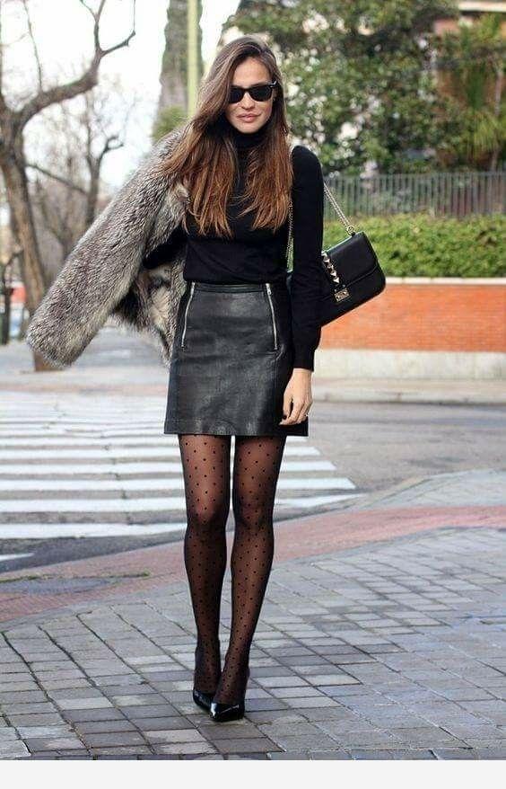Leather miniskirt and fur coat