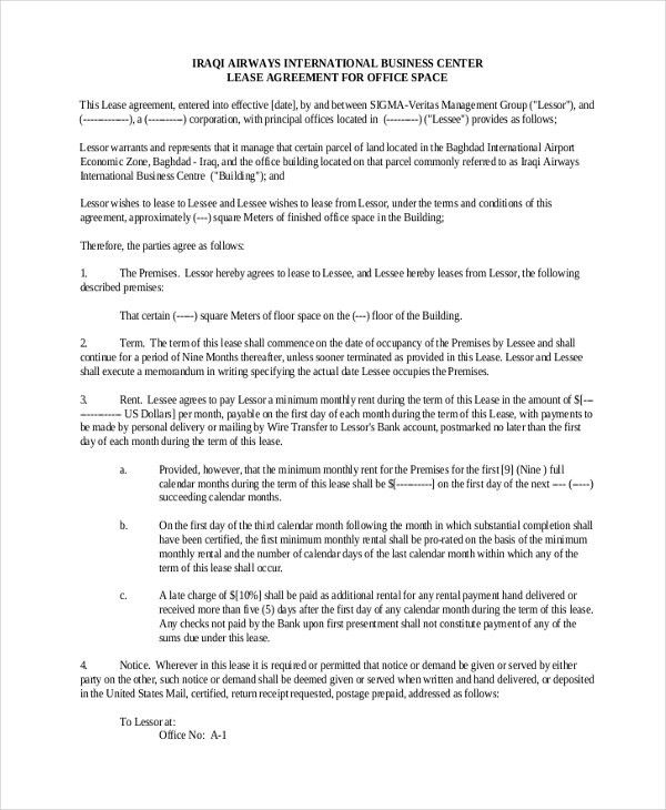 Office Space Lease Agreement Sample Office Space Lease Contract - sample commercial lease agreement template