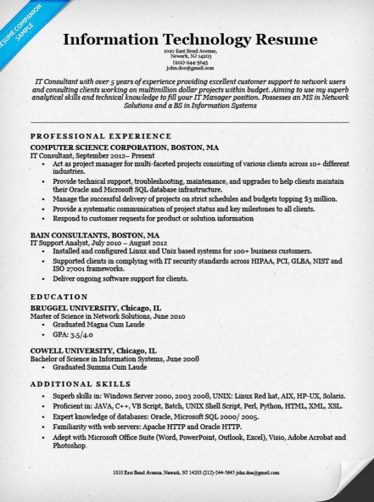 Sample Of It Resume Information Technology It Resume Sample