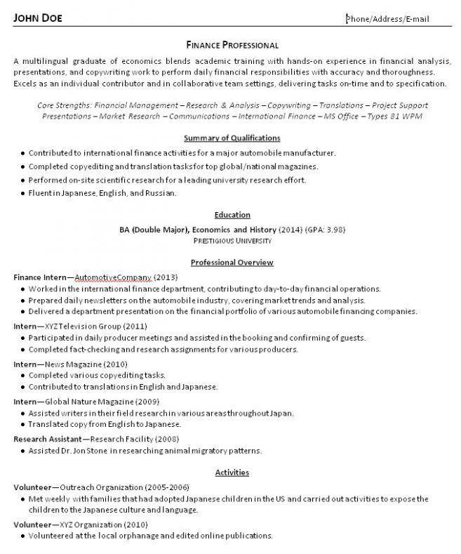 recent college graduate resume sample