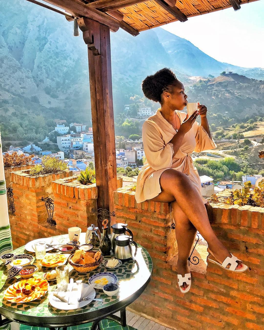 #GlamAfricaDestination: South Africa's Teekay In Chefchaouen, The Colourful Mountainous City Of Morroco   Glam Africa