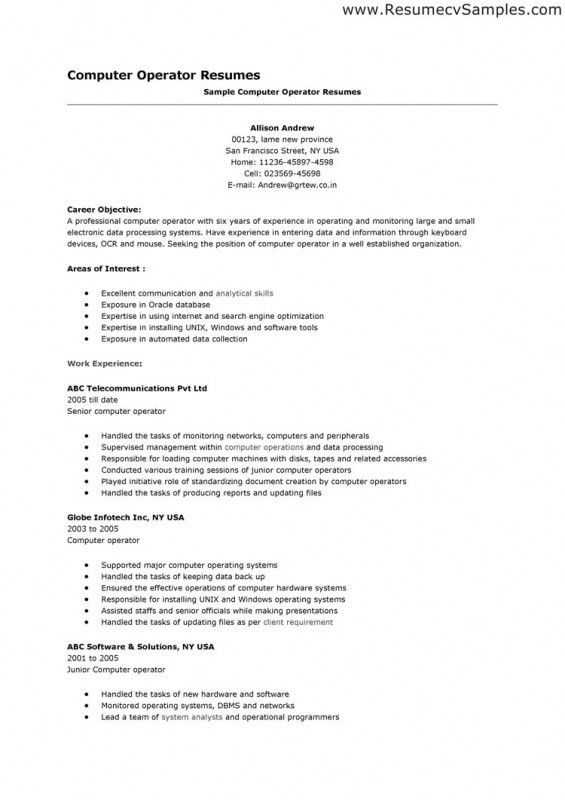 ... Sample Resume For Computer Operator Computer Operator Resume   Sample  Resume For Computer Operator ...