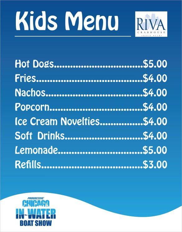 Kids Menu Templates Kids Menu Kid Menu Designs Kid Menu Templates - sample menu template