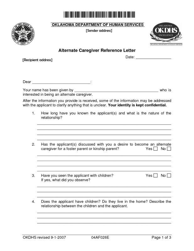 letter of recommendation for caregiver