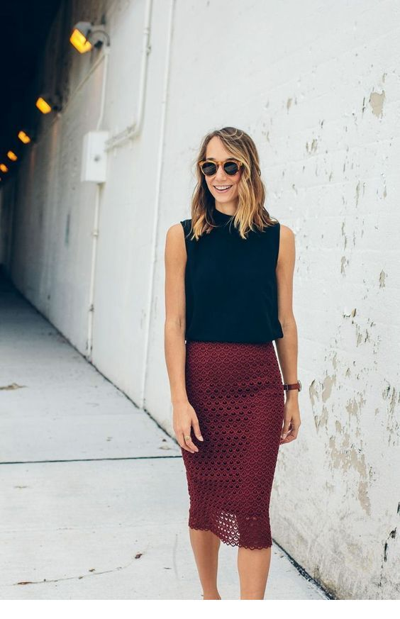 Chic black top and burgundy skirt