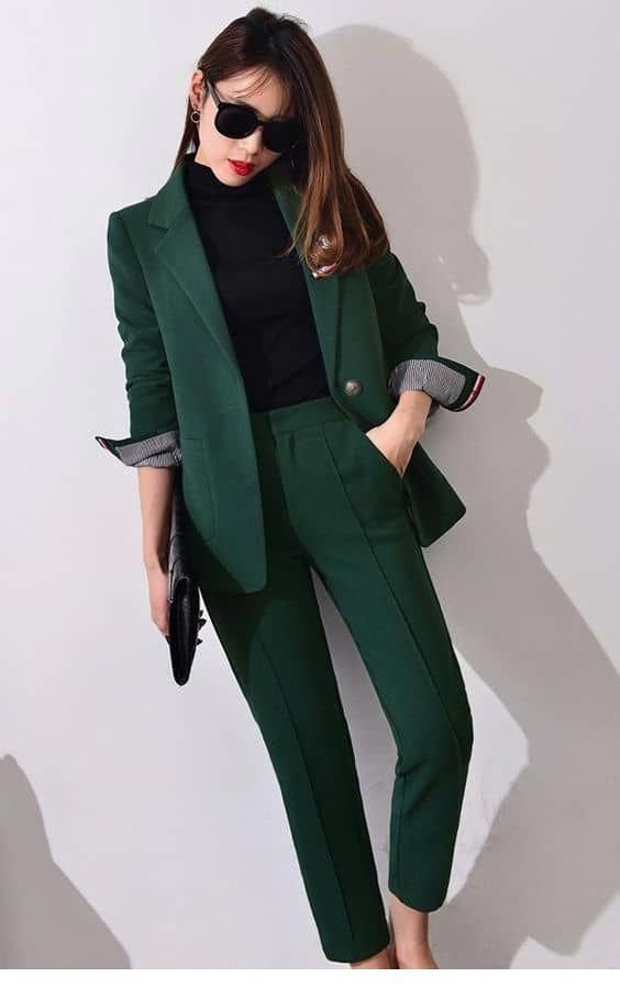 Green suit for office