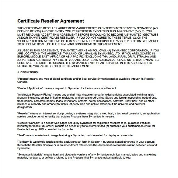 Reseller Agreement Template sample software license agreement - sample reseller agreement template