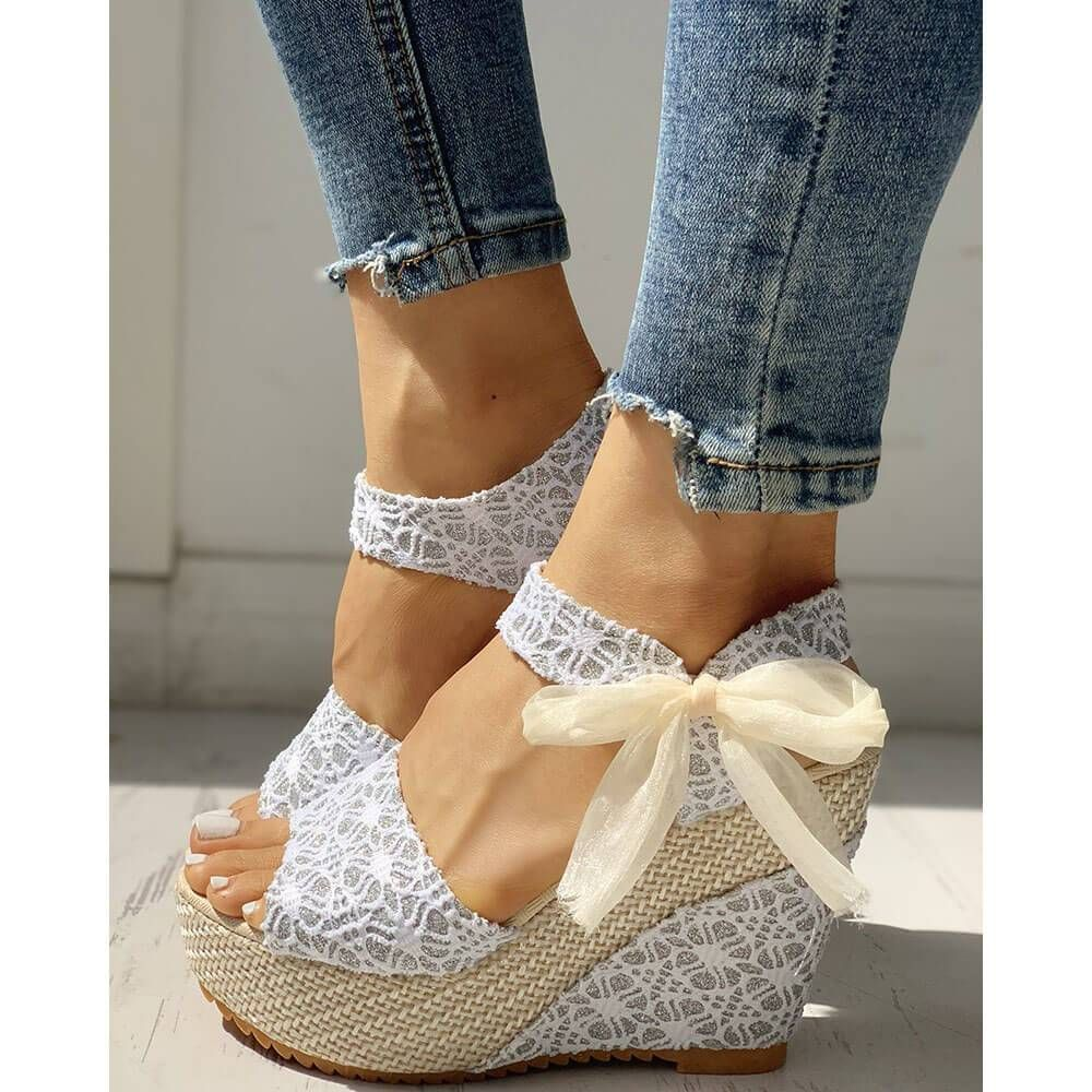 Fashion Casual Lace Bow Wedge Sandals – rosynova