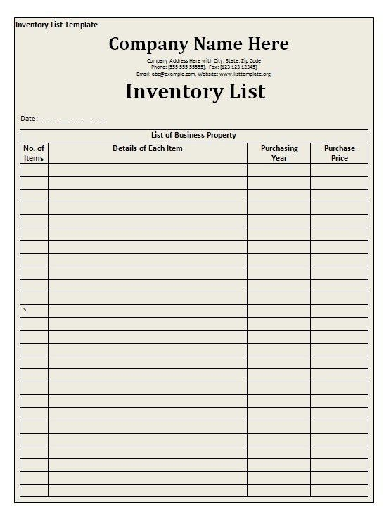 Office Supplies Checklist Template Printable Office Supply List Supply  Inventory Template   Inventory Control List