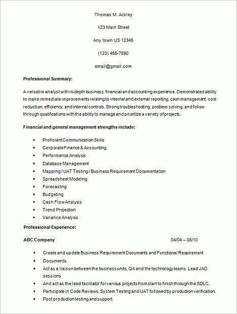 system analyst resume example
