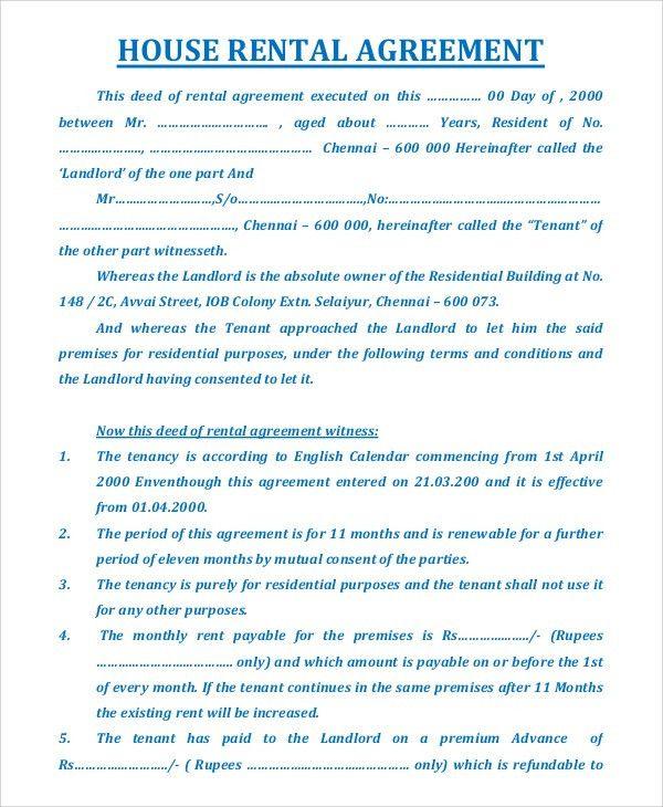 House Rental Agreement Template 13 House Rental Agreement - sample house lease agreement