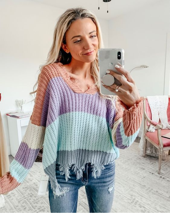 Colorful sweater and jeans