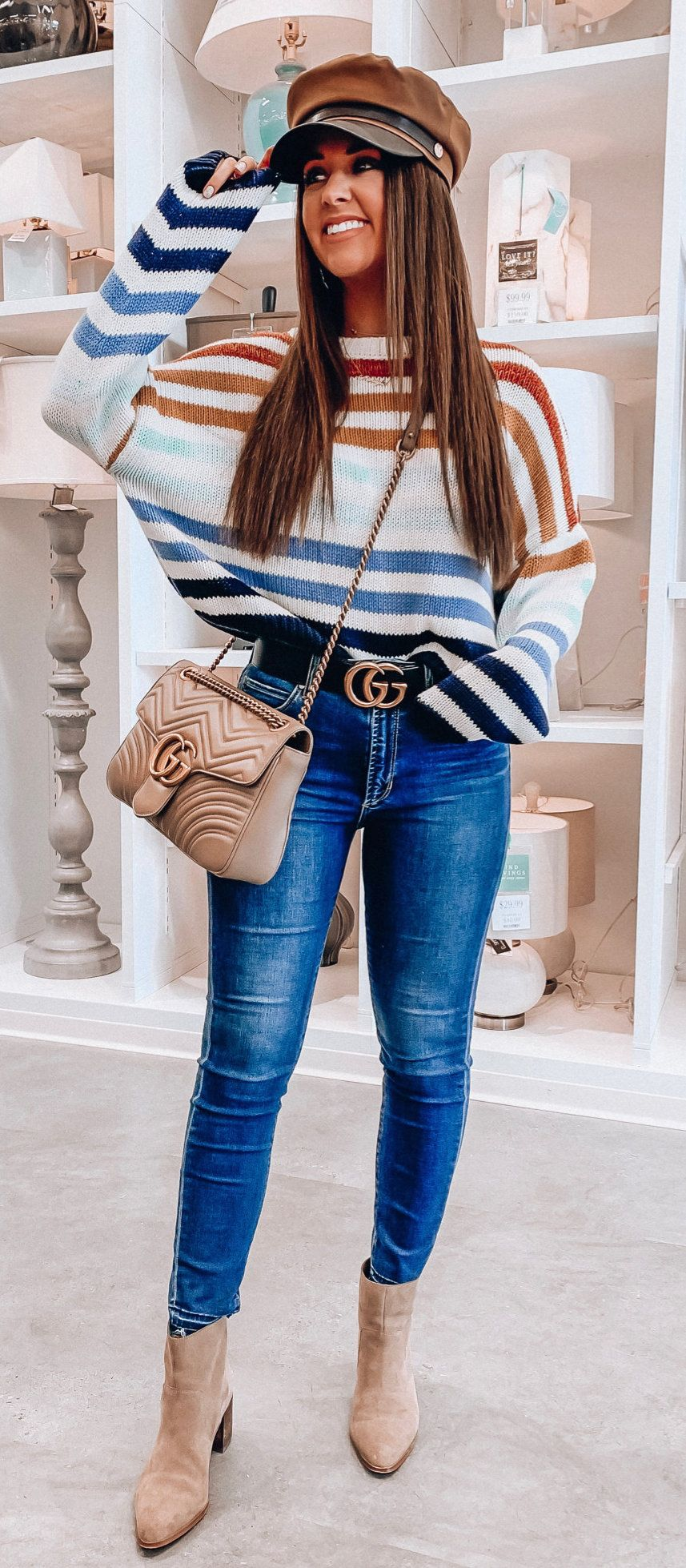 blue denim pants #spring #outfits