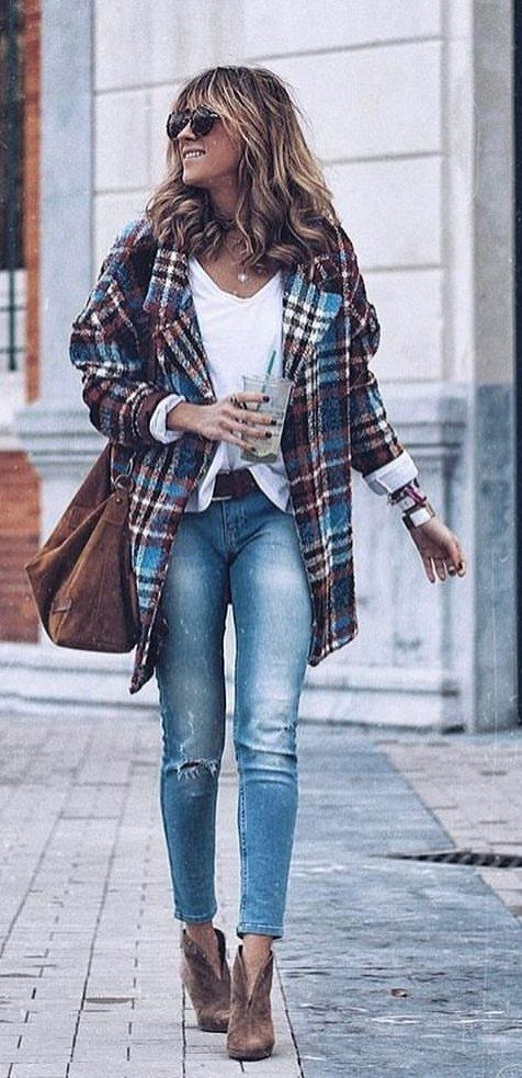 teal, brown, and white plaid coat