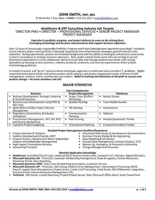 pmp sample resume awesome collection of sample resumes for