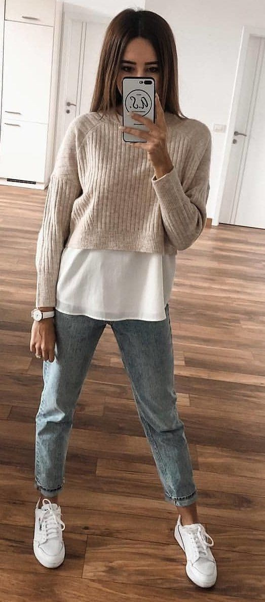 brown crew-neck crop sweater
