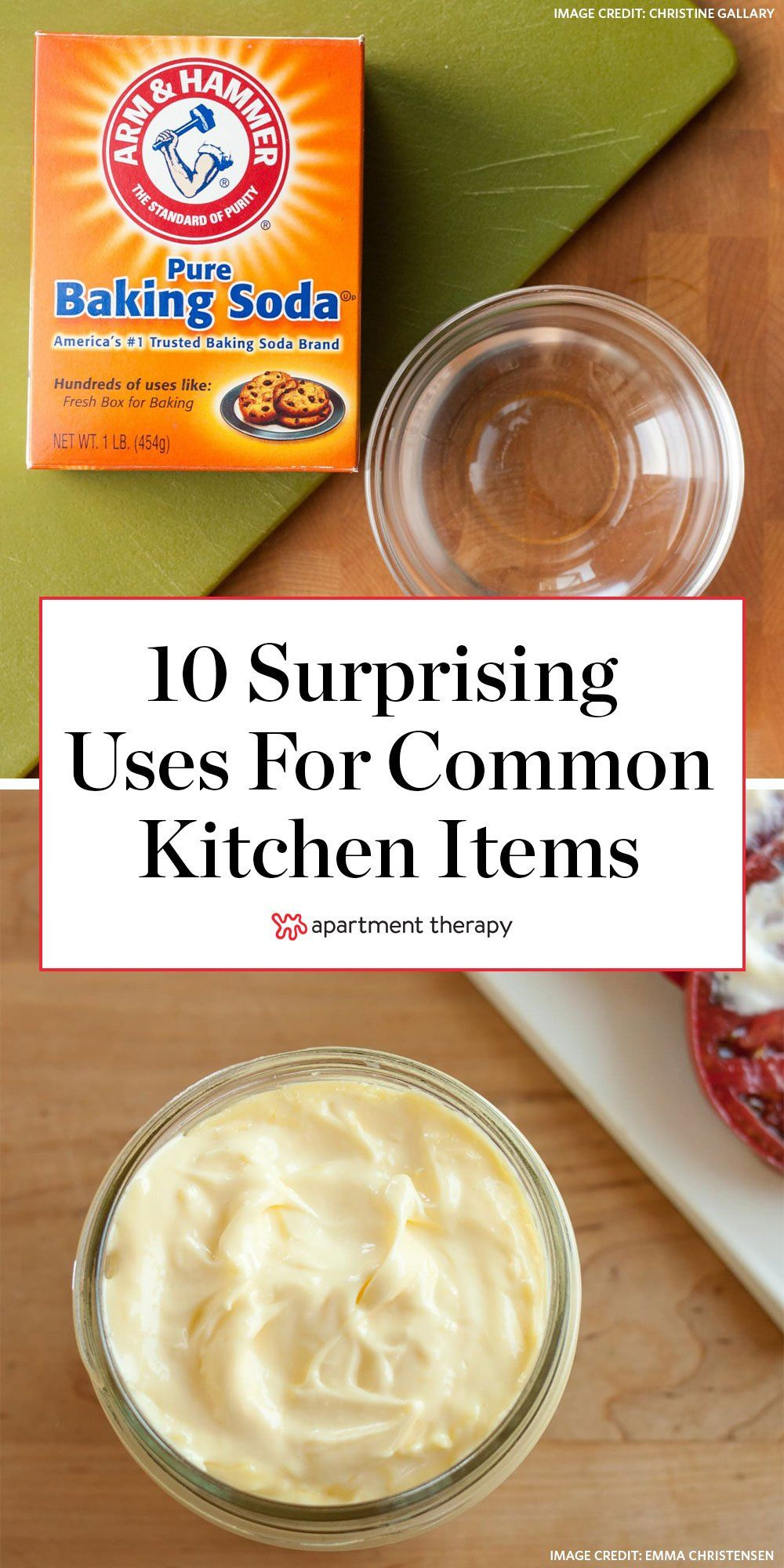 Here are 10 surprising uses for kitchen items around the rest of the house, from baking soda to coffee grounds and mayonnaise. #lifehacks #kitchentools #kitchenhacks #kitchenideas #cleaninghacks #cleaningideas #cleaningtips