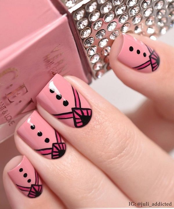 Pink colors are very good choice in warm summer days. Details in black can refresh a lot your pink manicure.