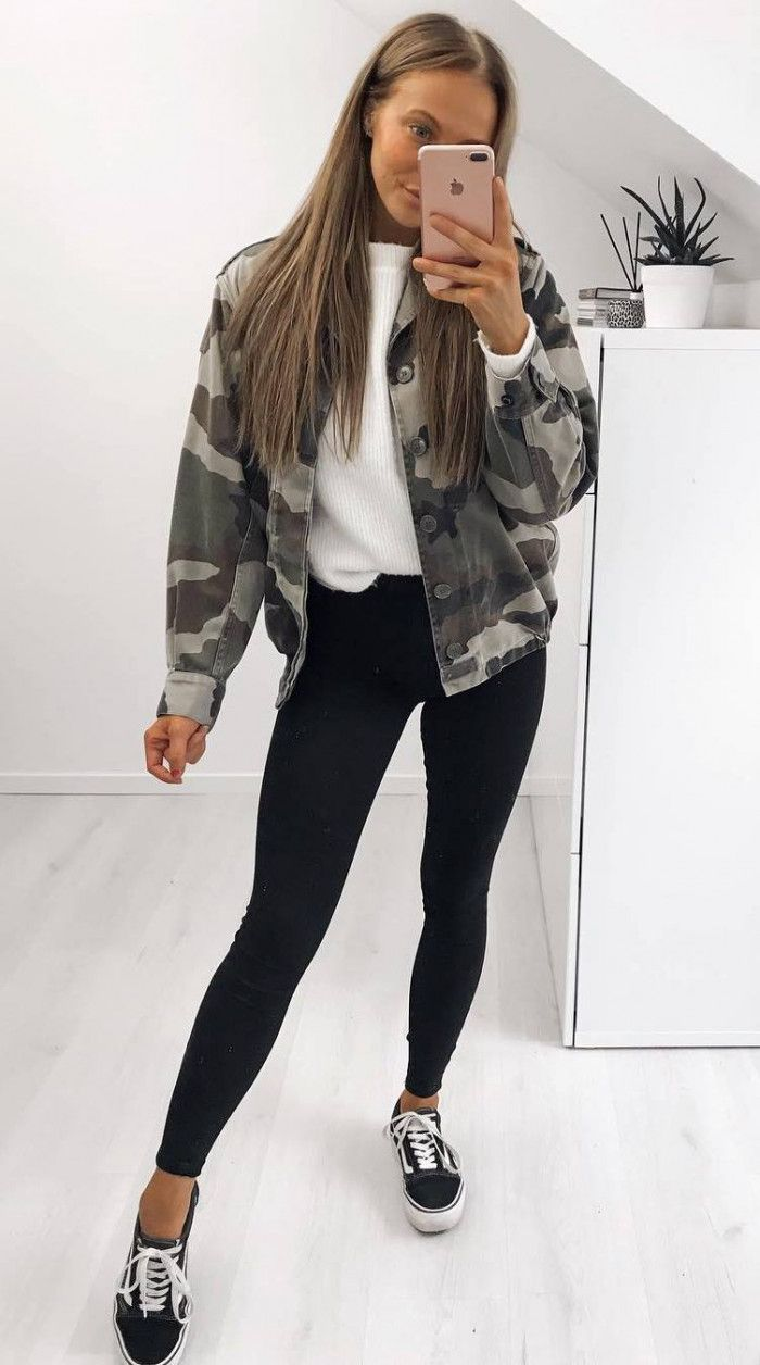 how to style a khaki jacket : black skinnies white top sneakers
