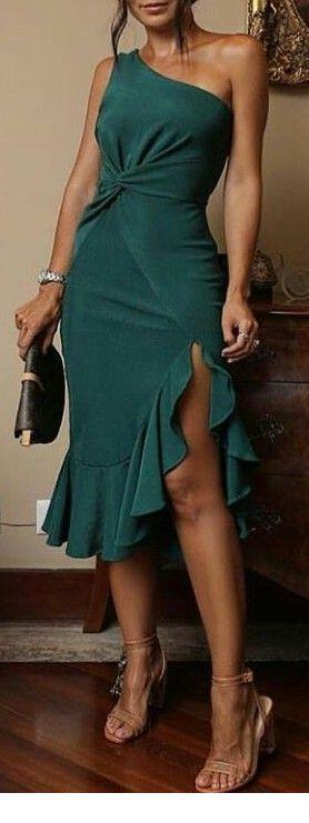Nice green dress with ruffles