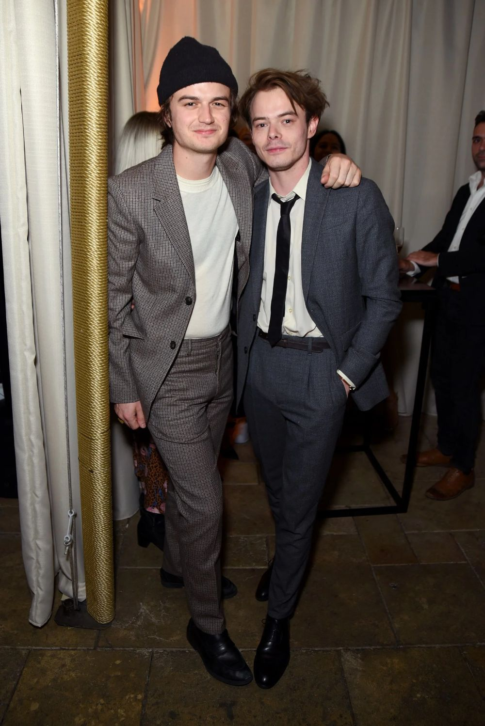 Beanie buddy Joe Keery is your winter suiting inspiration. (Heck, Charlie Heaton is, too.)
