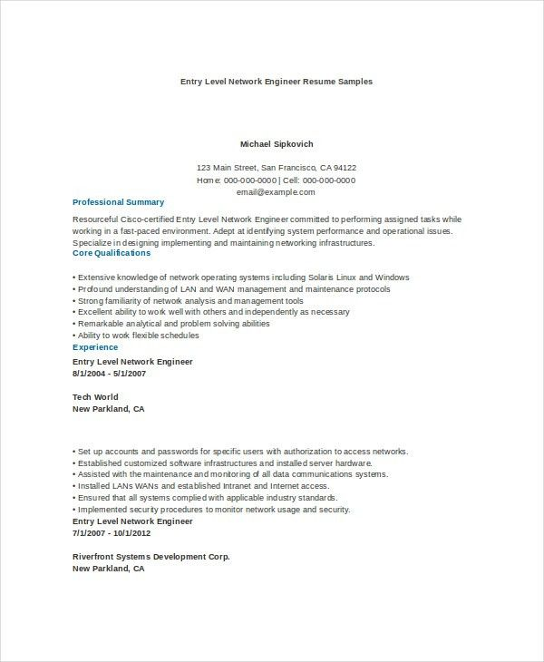 Entry Level Network Engineer Professional
