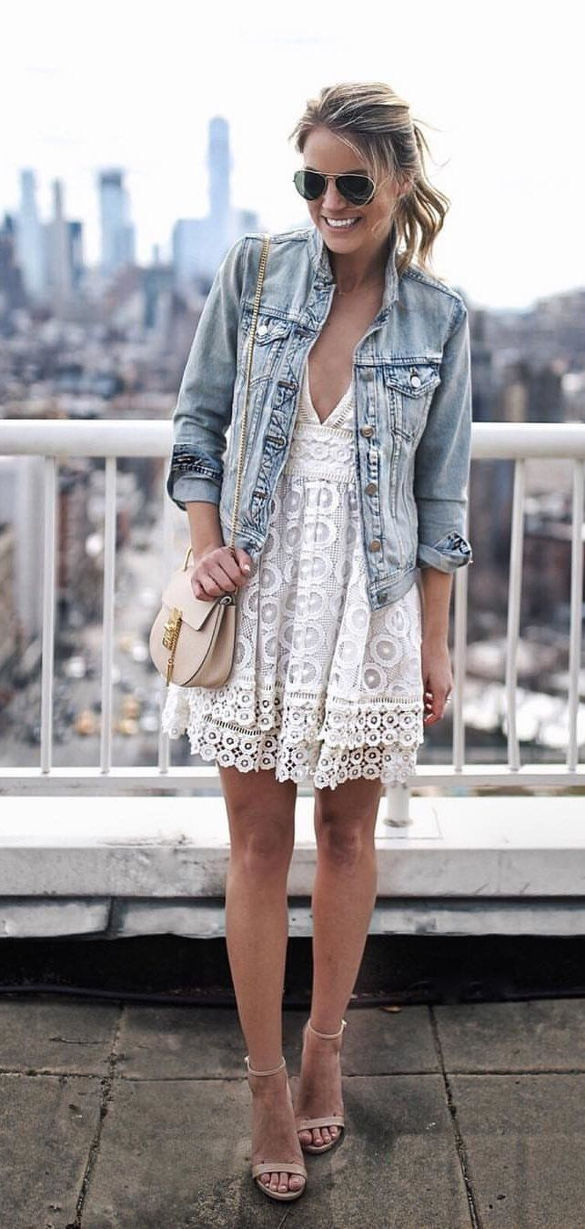 gray denim button-up jacket #spring #outfits