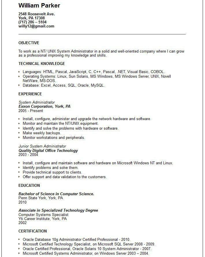 unix engineer resume
